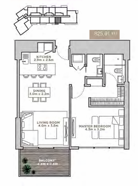 Planning of the apartment Studios, 825.91 in La Reserve Residences, Dubai