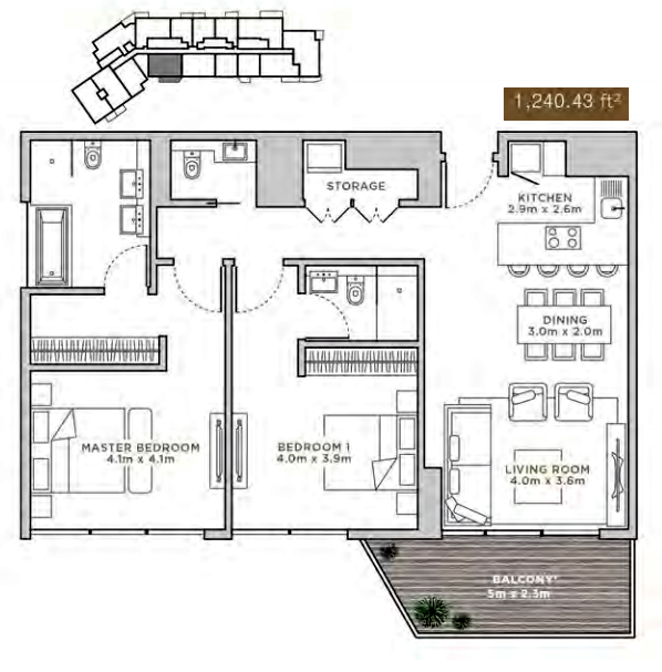 Planning of the apartment 1BR, 1240.43 in La Reserve Residences, Dubai