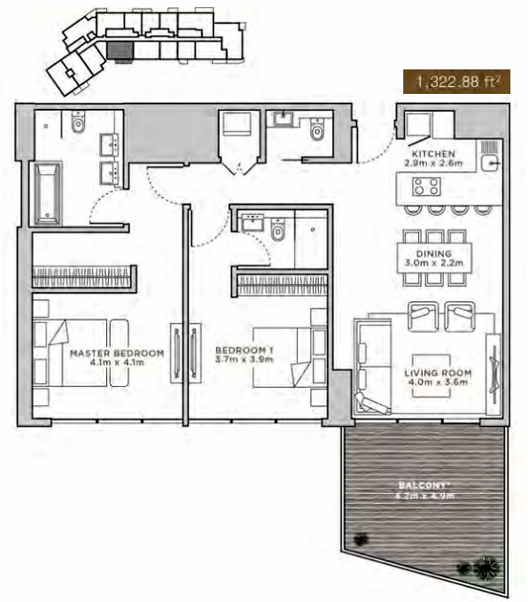 Planning of the apartment 1BR, 1322.88 in La Reserve Residences, Dubai