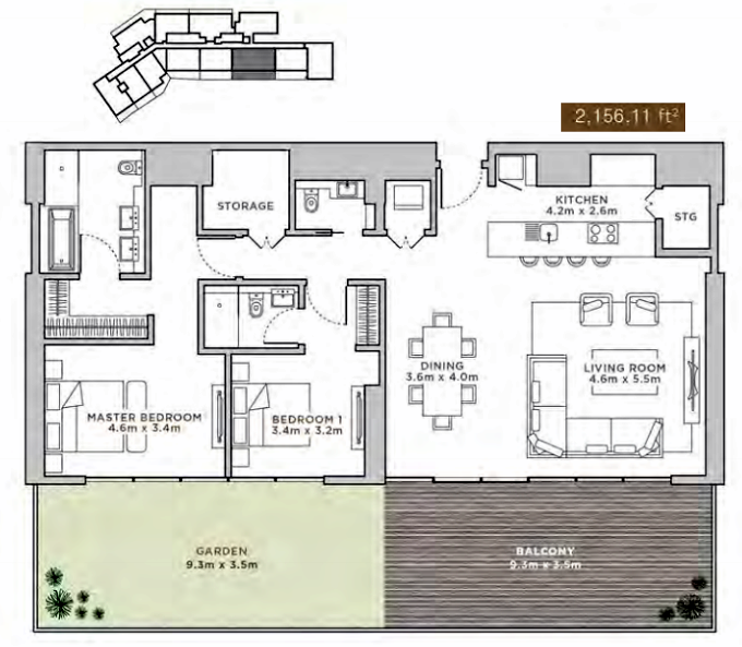 Planning of the apartment 3BR, 2156.11 in La Reserve Residences, Dubai