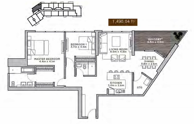 Planning of the apartment 2BR, 1490.04 in La Reserve Residences, Dubai