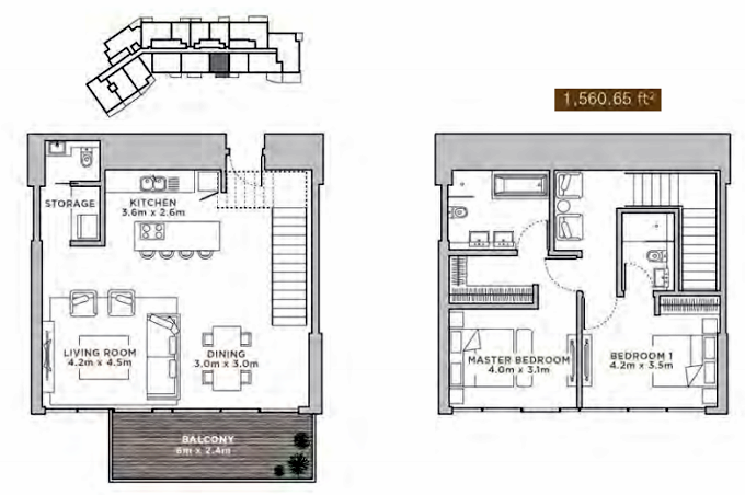 Planning of the apartment Duplexes, 1560.66 in La Reserve Residences, Dubai