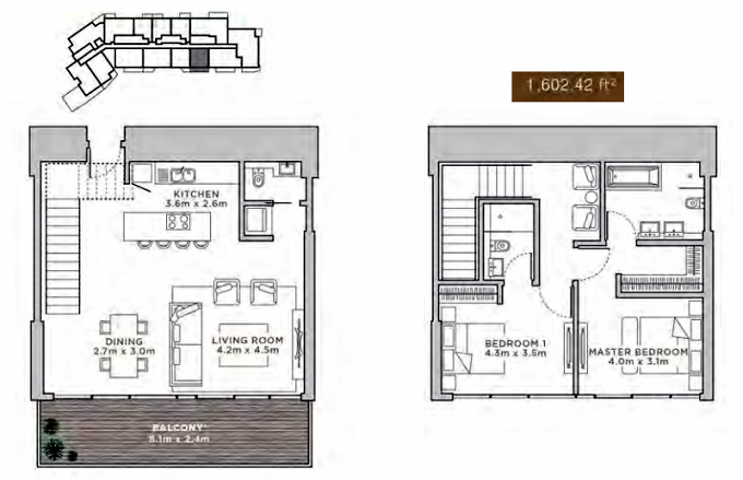 Planning of the apartment Duplexes, 1602.42 in La Reserve Residences, Dubai