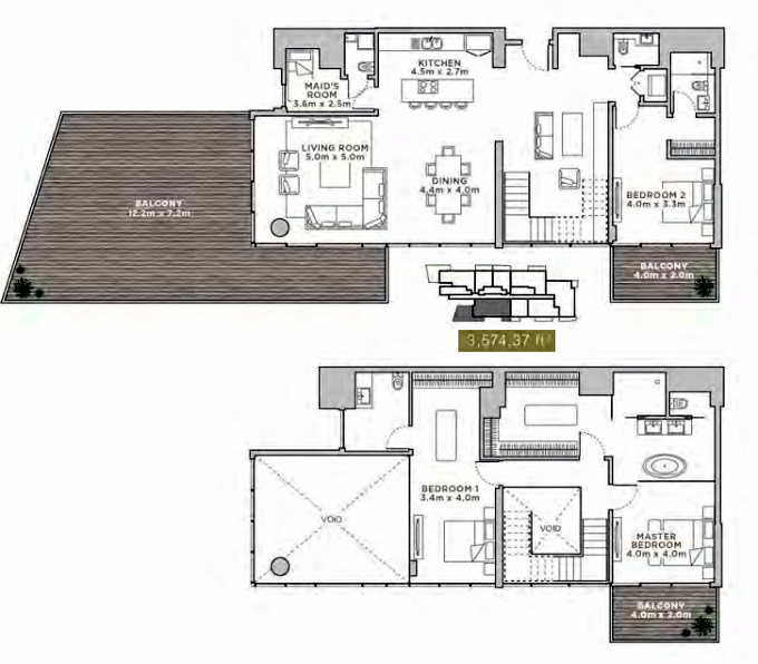 Planning of the apartment Duplexes, 3574.37 in La Reserve Residences, Dubai