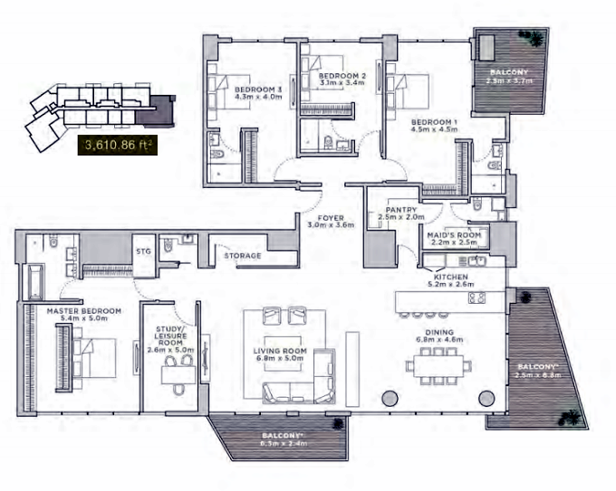 Planning of the apartment Duplexes, 3610.86 in La Reserve Residences, Dubai