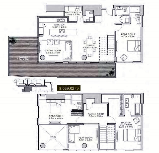 Planning of the apartment Duplexes, 3089.02 in La Reserve Residences, Dubai