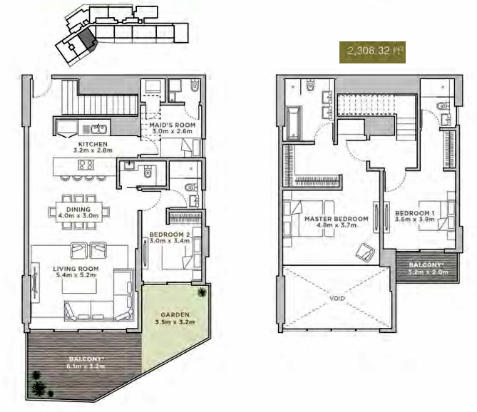 Planning of the apartment Duplexes, 2308.32 in La Reserve Residences, Dubai