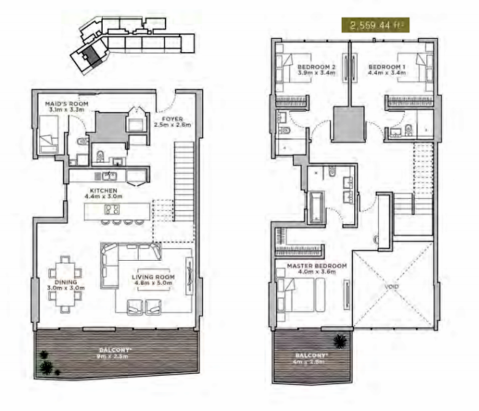Planning of the apartment Duplexes, 2569.44 in La Reserve Residences, Dubai