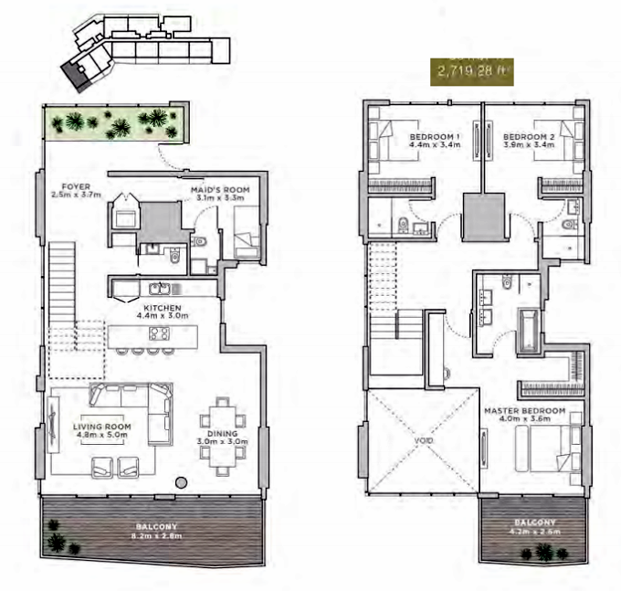 Planning of the apartment Duplexes, 2719.28 in La Reserve Residences, Dubai
