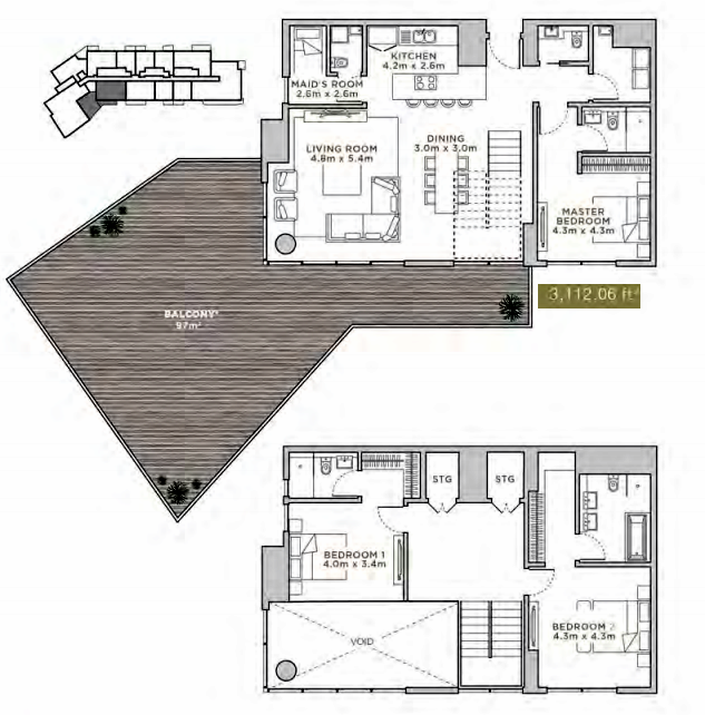 Planning of the apartment Duplexes, 3112.06 in La Reserve Residences, Dubai