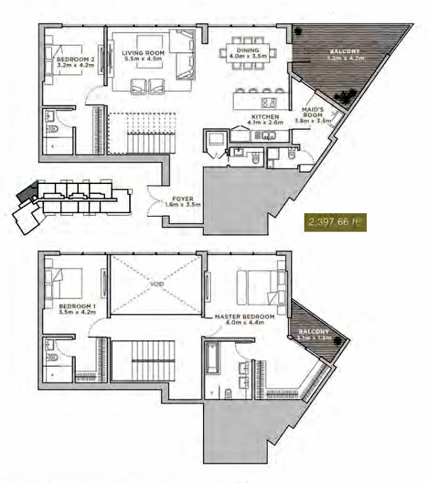 Planning of the apartment Duplexes, 2397.66 in La Reserve Residences, Dubai