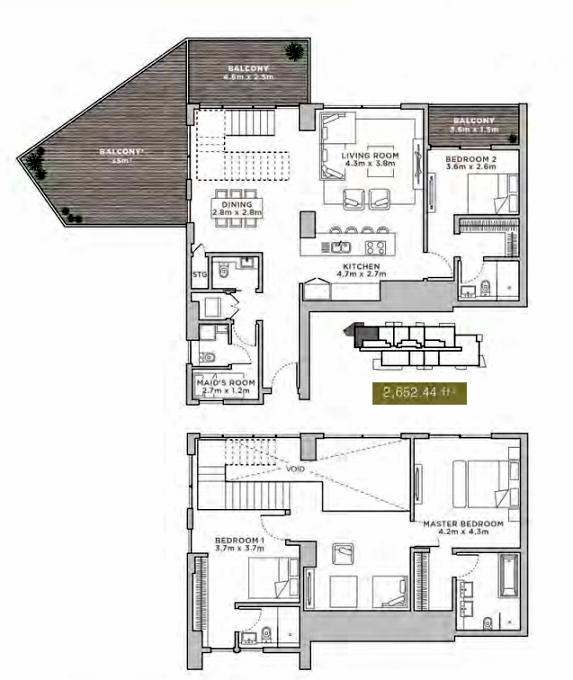 Planning of the apartment Duplexes, 2652.44 in La Reserve Residences, Dubai