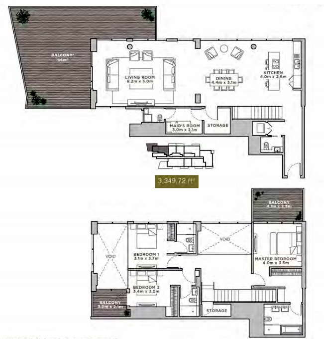 Planning of the apartment Duplexes, 3349.72 in La Reserve Residences, Dubai