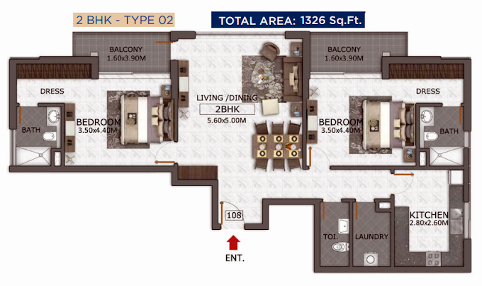 Planning of the apartment 2BR, 1326 in Micasa Avenue, Dubai