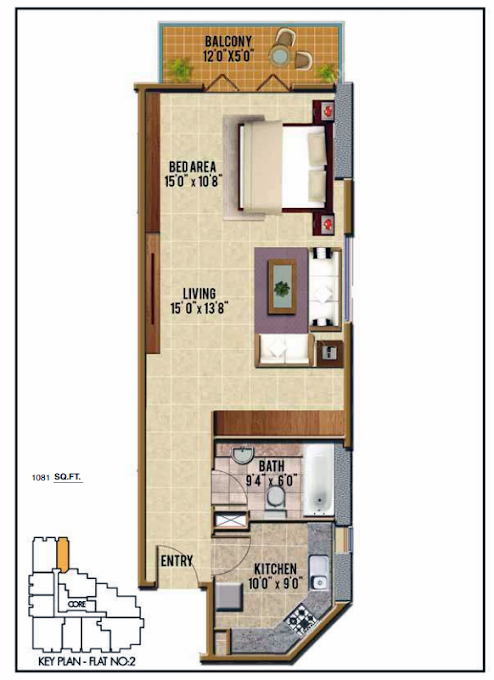 Planning of the apartment 1BR, 1081 in Riah Towers, Dubai