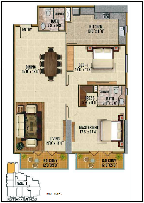 Planning of the apartment 2BR, 1523 in Riah Towers, Dubai