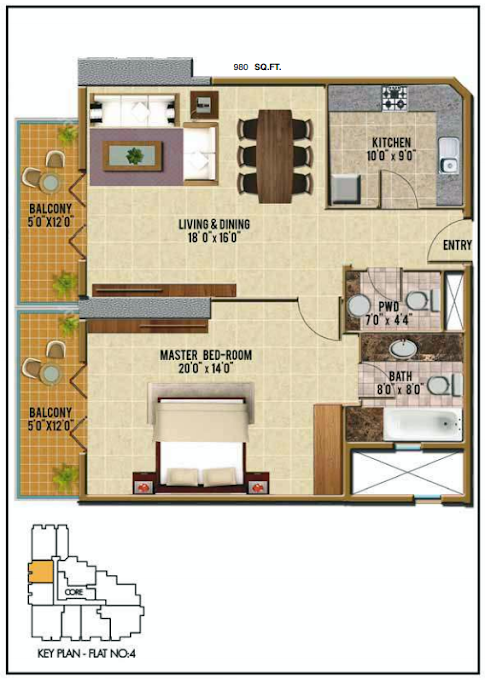 Planning of the apartment 1BR, 980 in Riah Towers, Dubai