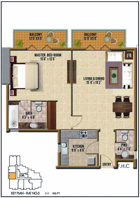 Planning of the apartment 1BR, 912 in Riah Towers, Dubai