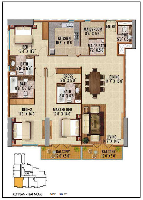 Planning of the apartment 3BR, 3692 in Riah Towers, Dubai