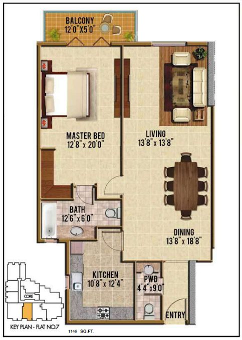 Planning of the apartment 1BR, 1149 in Riah Towers, Dubai