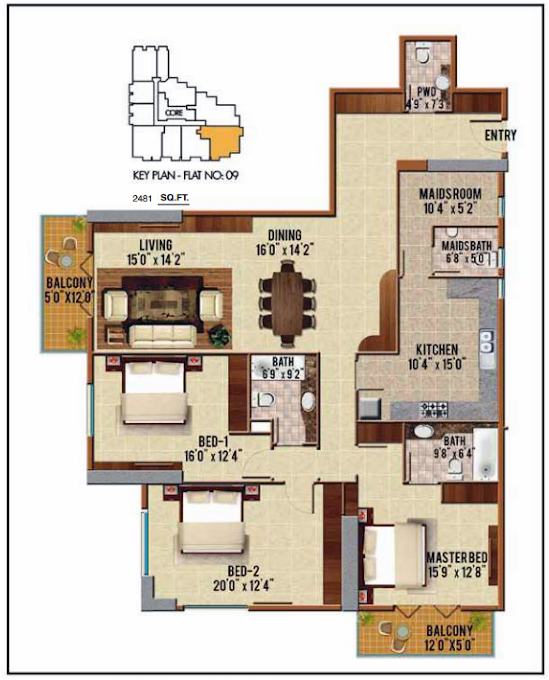 Planning of the apartment 3BR, 2481 in Riah Towers, Dubai