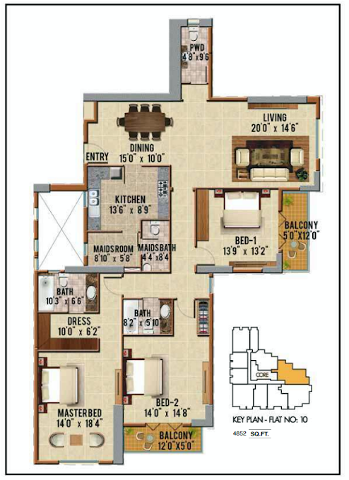 Planning of the apartment 3BR, 4852 in Riah Towers, Dubai