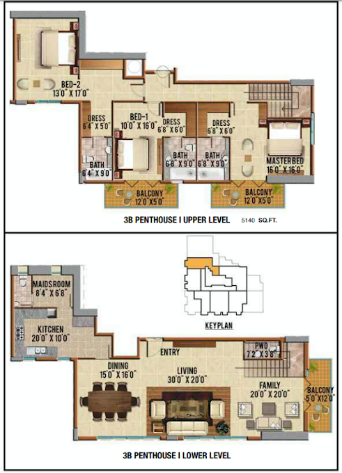 Planning of the apartment Penthouses, 5140 in Riah Towers, Dubai