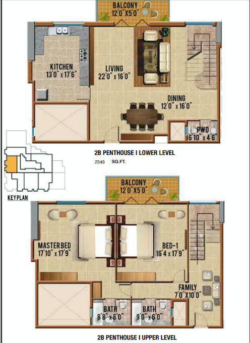 Planning of the apartment Penthouses, 2349 in Riah Towers, Dubai