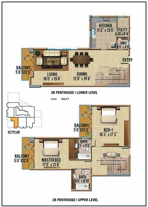 Planning of the apartment Penthouses, 3066 in Riah Towers, Dubai