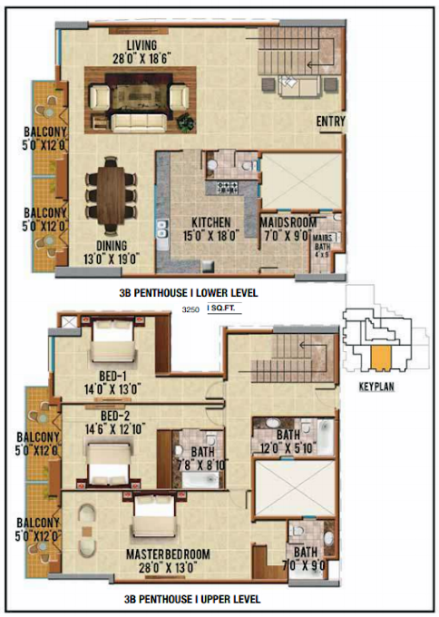 Planning of the apartment Penthouses, 3250 in Riah Towers, Dubai