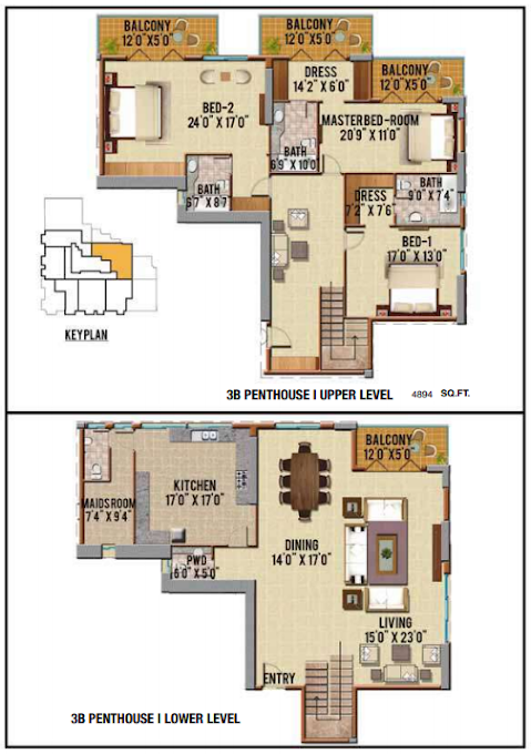 Planning of the apartment Penthouses, 4894 in Riah Towers, Dubai