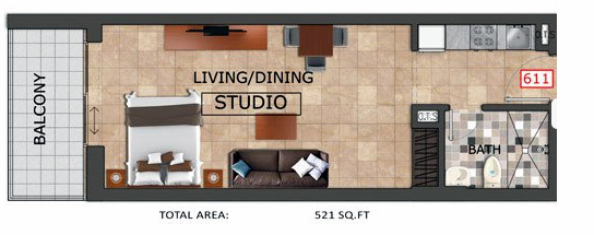 Planning of the apartment Studios, 521 in Al Haseen Residences, Dubai