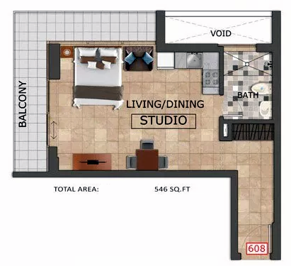 Planning of the apartment Studios, 546 in Al Haseen Residences, Dubai
