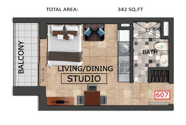 Planning of the apartment Studios, 342 in Al Haseen Residences, Dubai