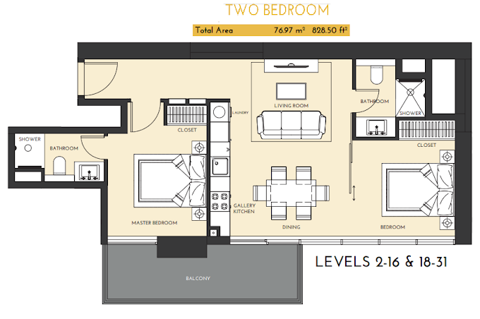 Planning of the apartment 2BR, 828.5 in Studio One Apartments, Dubai