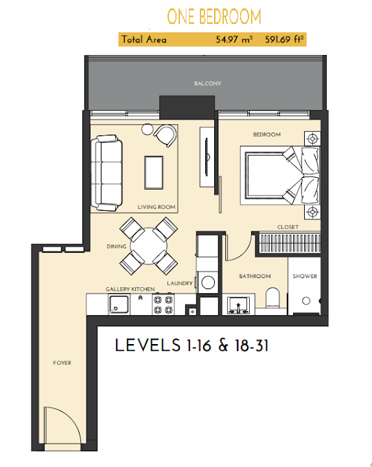 Planning of the apartment 1BR, 591.69 in Studio One Apartments, Dubai