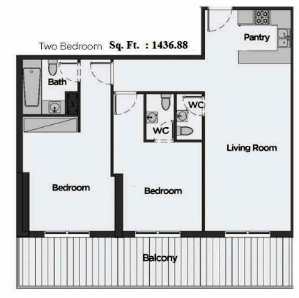 Planning of the apartment 2BR, 1436.88 in Artistic Heights, Dubai
