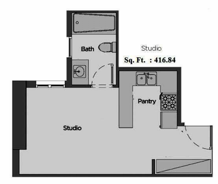 Planning of the apartment Studios, 416.84 in Artistic Heights, Dubai