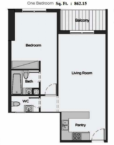 Planning of the apartment 1BR, 862.15 in Artistic Heights, Dubai