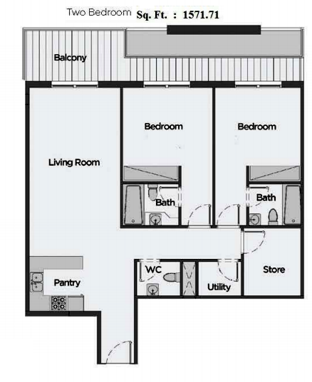 Planning of the apartment 2BR, 1571.71 in Artistic Heights, Dubai