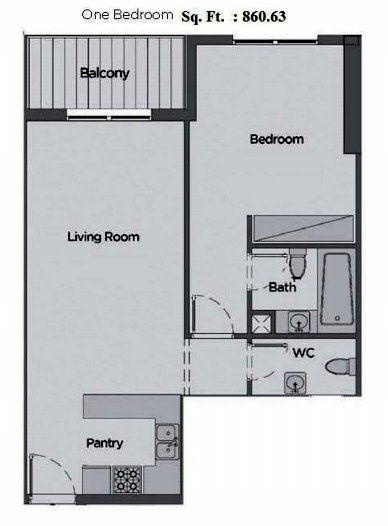 Planning of the apartment 1BR, 860.63 in Artistic Heights, Dubai