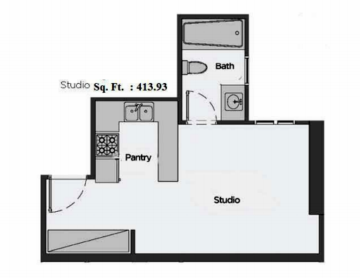 Planning of the apartment Studios, 413.93 in Artistic Heights, Dubai