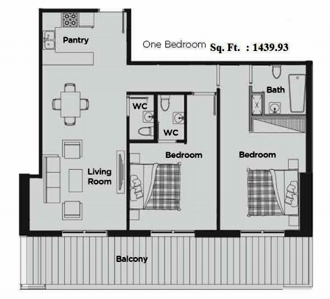 Planning of the apartment 1BR, 1439.93 in Artistic Heights, Dubai