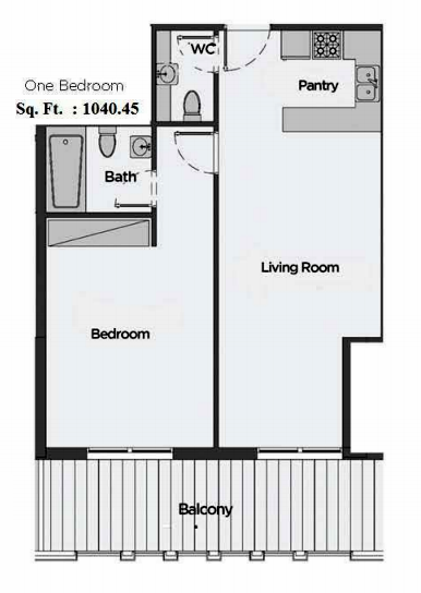Planning of the apartment 1BR, 1040.45 in Artistic Heights, Dubai