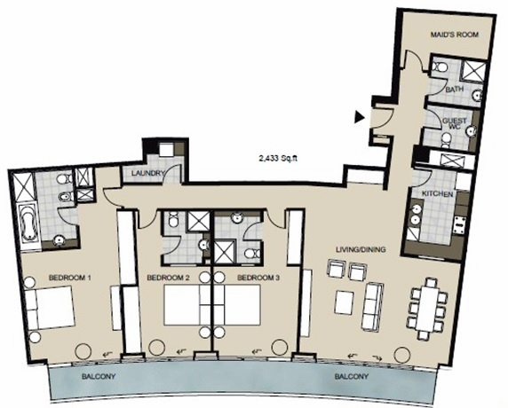 Planning of the apartment 3BR, 2432 in Marsa Plaza, Dubai