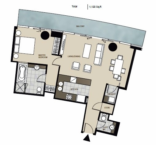 Planning of the apartment 1BR, 1120 in Marsa Plaza, Dubai
