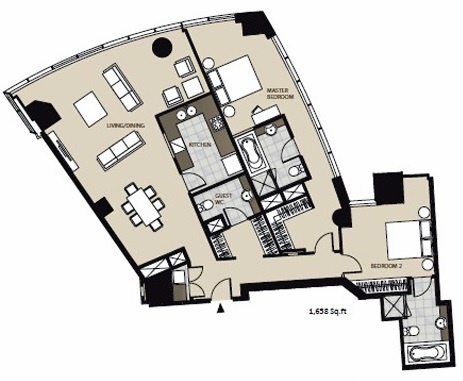 Planning of the apartment 2BR, 1638 in Marsa Plaza, Dubai