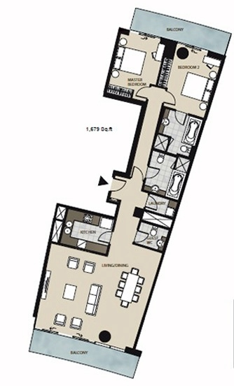 Planning of the apartment 2BR, 1679 in Marsa Plaza, Dubai