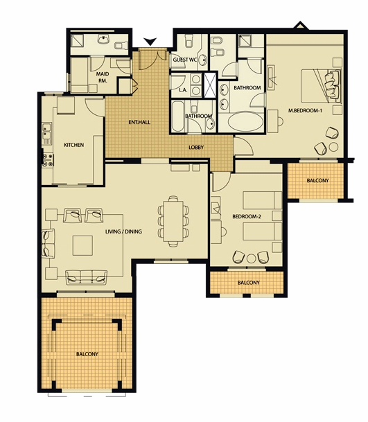 Planning of the apartment 2BR, 1775 in Al Badia Residence Apartments, Dubai