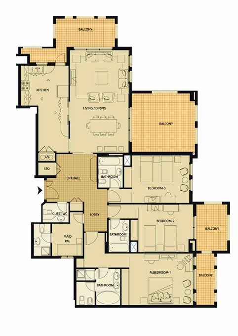 Planning of the apartment 3BR, 2517 in Al Badia Residence Apartments, Dubai